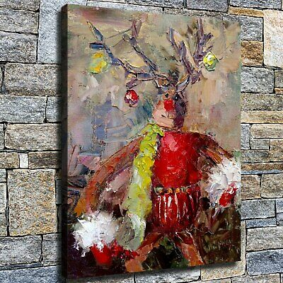 "12""x16""Red Christmas elk paintings HD canvas photo home decor wall Art pictures"