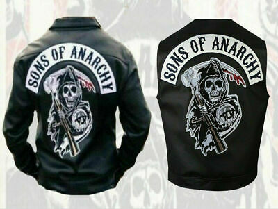 Son of Anarchy Giacca in Vera Pelle Per Uomo Biker SOA Cafe Racer Nero
