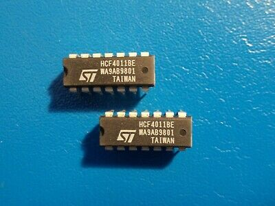 2x TI SN-7403-N Quad 2-input Positive-NAND Gate w// open Collector Out DIP-14 THT