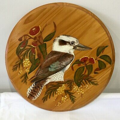 Kookaburra Pyrography Woodburning Pokerwork Art Artist Signed Joy Day 1987