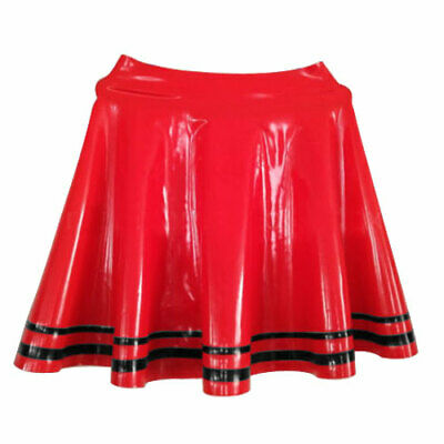 100% Latex Rubber Dress Gummi Kleid Rot Ruffle Mini Sexy Skirt Rock 0.4mm S-XXL