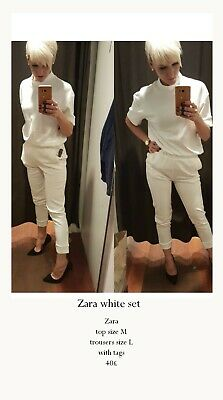 Zara White set Top And Trousers With Tags