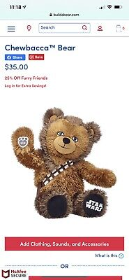Build-A-Bear Official Chewbacca Bear With Added Bowcaster