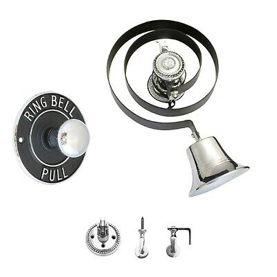 Victorian Butlers Bell Kit c/w Round Chrome Pull, Rope, Chrome Bell & Pulleys