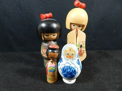 Lot Of 4 Wooden Hand Carved & Painted Japanese Figures