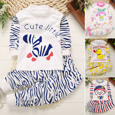 Baby Kids Toddler Cotton Sleepwear Pullover Top Elastic Pants Pajama Set Clothes