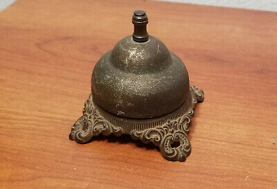 Antique Brass Ringer Service Front Desk Counter Call Bell Cast Iron FREE SHIP