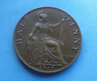 Edward VII. Halfpenny 1910, Excellent Condition.