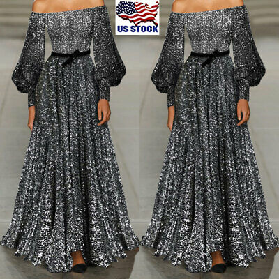 US Womens Off Shoulder Flare Sleeve Evening Party Club Long Maxi Dress Prom Gown