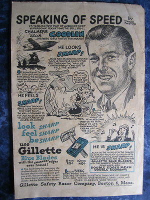 1940's Gillette Blue Blades Advertising Sign Humorous