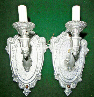 CIRCA 1920 PAIR of CAST RIDDLE WALL SCONCES  - FULLY RESTORED (10406)