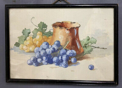 Antique 19th Century French Still Life Painting In Black Lacquered Frame