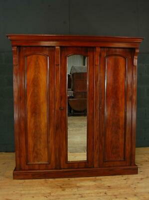 Large Antique 19th Century Victorian Mahogany Triple Wardrobe Compactum