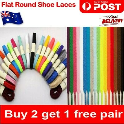 Shoelaces Colorful Coloured Flat Round Bootlace Sneaker Runner Sports shoe laces