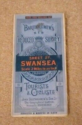 Bartholomew's New Reduced Survey Tourists and Cyclists Map Swansea circa 1930