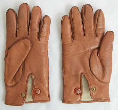 Vintage English Make Brown Leather Gloves Imitation Peccary Large