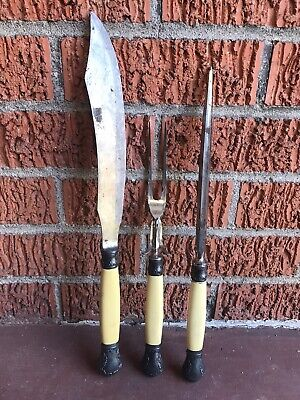 MERIDEN Cutlery Co 3 PC Carving SET Sterling Silver French Celluloid Handles.
