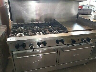 """Garland Sunfire 6 Burner 24"""" Thermostatic Griddle Double Oven Nat Gas"""
