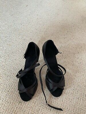 Black Satin Easy Release Dance Shoes Size 3
