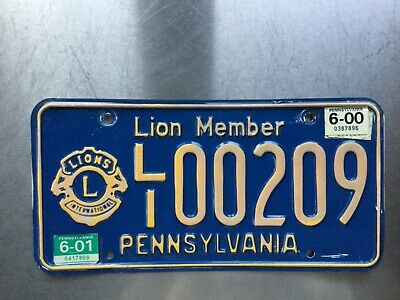 Pennsylvania state license plate Lions Member