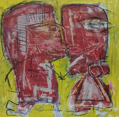 Framed 2ft Outsider Art Brut Painting On Wood Modern Art Abstract Expressionism