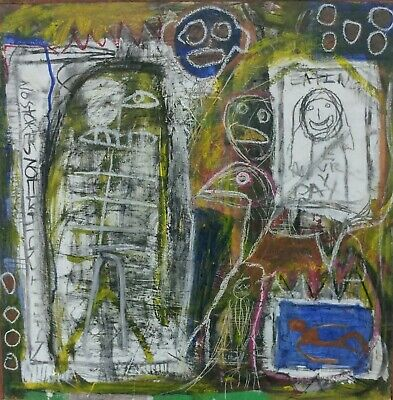 Framed 2ft Outsider Art Brut Painting On Wood Modern Art Abstract Expressionism.
