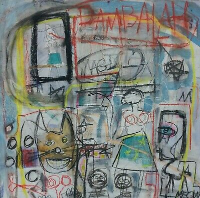 Framed 2ft Outsider Art Brut Painting On Wood Modern Art Abstract Expressionism!