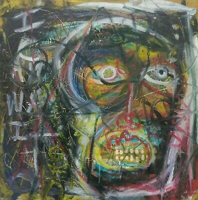 Framed 2ft Outsider Art Brut Painting On Wood Modern Art Abstract Expressionism-