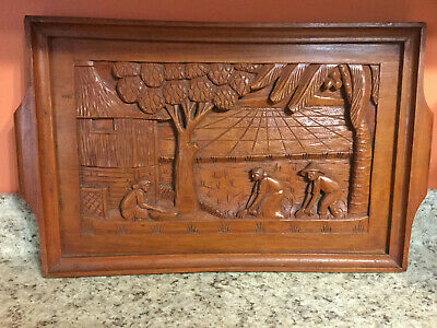 Vintage Philippine Hand Carved Beautiful Wooden Serving Tray Wall Hanging