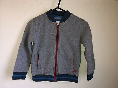 Mini Boden Boys Gray Red Navy Blue Zip Up Sweatshirt 4 5