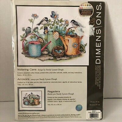 Watering Cans Dimensions Stamped Cross Stitch Kit