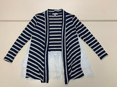 Moa Moa womens blue white striped floral laced cardigan sweater size S