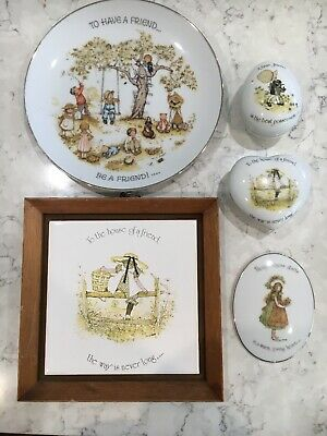 Vintage Holly Hobbie Bulk Pack Plate Hangings Trinket Jewelry Box's