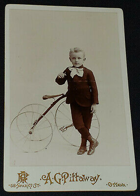 ANTIQUE CHILD POSING with his TRICYCLE OTTAWA, CANADA - CABINET PHOTO - ORIGINAL