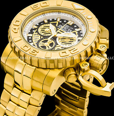 Invicta 58mm Mens Sea Hunter Gen-II Swiss Chronograph Gold Plated SS 200MT Watch