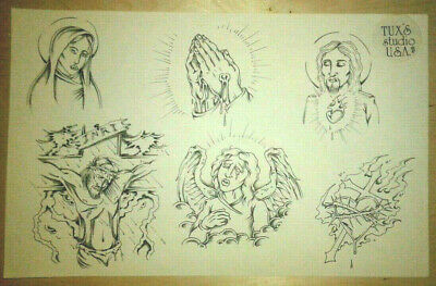 Vintage Daniel Higgs Tattoo Flash 80s Outline Sheet Jesus Mary Sacred Heart