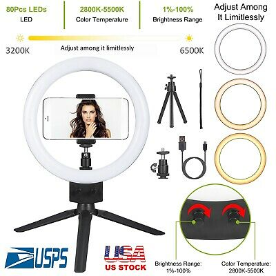 "9"" Dimmable 5500K LED Ring Light Kit with Stand for Makeup Phone Camera Selfie"