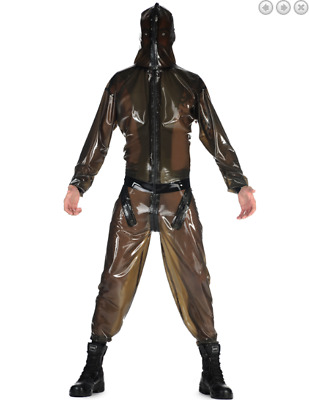 Unisex Latex Rubber Catsuit Hooded Brown Sports Auzug Fashion Cool Auzug S-XXL