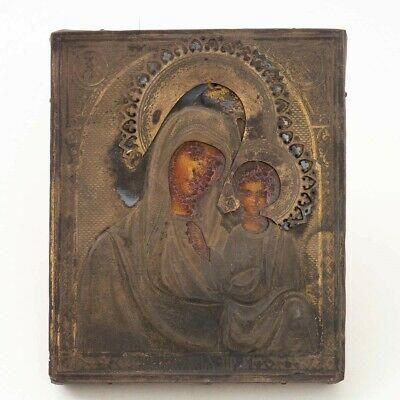 "Antique Russian Icon Virgin Mary & Child Revetment Painting Riza 4.5""x5.5"""