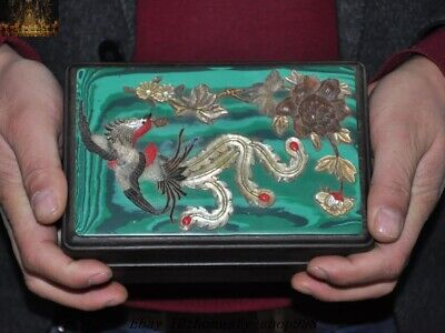 Old Dynasty Palace Huanghuali Wood inlay Shell Jade Phoenix Ancient Jewelry Box