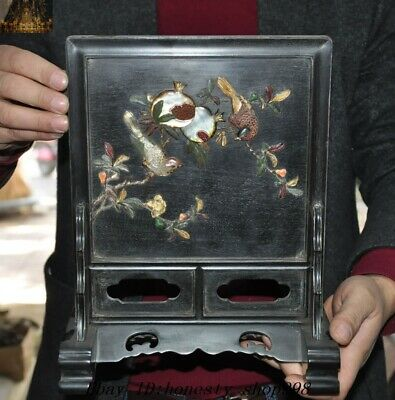 """12"""" Old Chinese Dynasty Palace Rosewood Wood inlay Shell pomegranate Bird screen"""