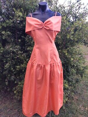 Vintage 80s Formal Dress 10 Apricot Orange Taffeta Retro Party Prom 80s Costume