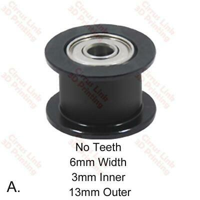 3D printer Part No Teeth 6mm Width 3mm Inner 13mm Outer GT2 Idler Pulley Wheel