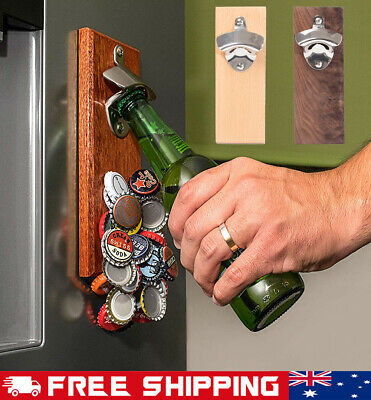 Magnetic Wall Mounted Stand Up Bar Pub Bottle Opener Cap Catcher Mountable AU