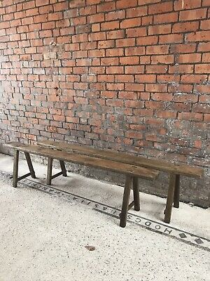 Vintage French Farmhouse Bench Pair