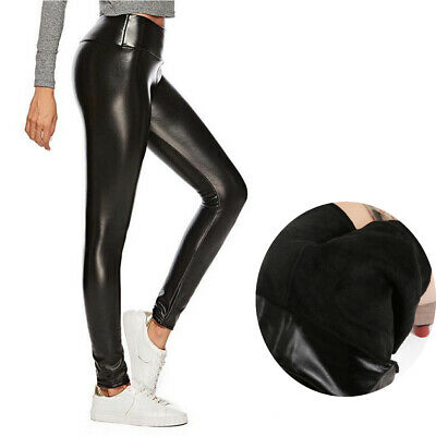 Hose Hohe Taille Leggins Damen Matt Leder Optik Leggings Dick Gefuttert Thermo