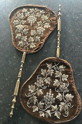 Antique Pair Face Screens French Napoleon III 1870s Hand Fans 19th Century Old