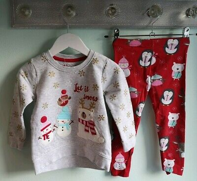Girls Cute Christmas Jumper & Leggings Outfit By TU/Primark Size 2-3 Years