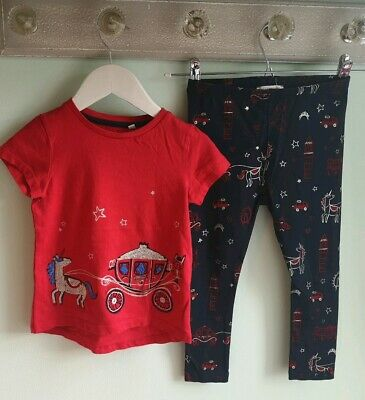 Girls Pretty Sparkly Unicorn T-shirt & Leggings Outfit By Bluezoo Size 3-4 Years