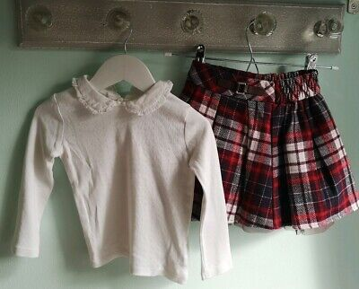 Girls Pretty Blouse Top & Tartan Skirt Outfit Size 2-3 Years Christmas winter
